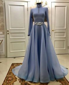 Size Kleid für Party Online Shop Long Sleeves Evening Dresses 2020 High Neck Crystal Plus Size A-Line Muslim Women Formal Party Evening Gown Vestidos de fiesta Evening Dresses With Sleeves, Evening Gowns, Hijab Evening Dress, Pretty Dresses, Beautiful Dresses, Hijab Dress Party, Fantasy Dress, Muslim Women, Muslim Brides