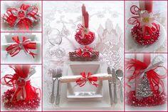 christmas table settings | Red and Silver Christmas Table Setting