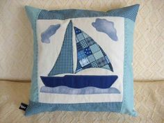 love this little patchwork applique boat pillow cushion