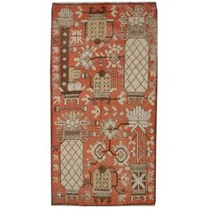 Early 20th Century Pictorial Khotan Rug | From a unique collection of antique and modern central asian rugs at http://www.1stdibs.com/furniture/rugs-carpets/central-asian-rugs/