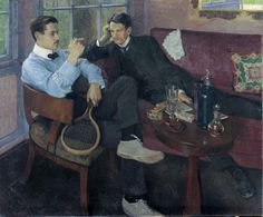 Young men in the garden pavilion, 1904 by Friedrich Ahlers-Hestermann (German 1883 - 1973) .....