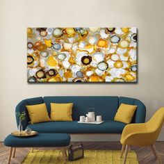 'Sundrops' by Norman Wyatt, Jr. Canvas Art Set: 30 in. H x 60 in. Blue And Yellow Living Room, Living Room Turquoise, Teal Living Rooms, Living Area, Sofa Design, Decoration Chic, Living Room Decor Cozy, Room Colors, Living Room Designs
