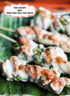 Skewered Thai Chicken Appetizer with Sweet and Spicy Chili Sauce #cocktailpartyfood #fcpinpartners