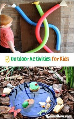 5 Fun outdoor activities for kids, from water play, to nature explore, to crazy egg confetti, . which one would your child like? Outside Activities, Outdoor Activities For Kids, Outdoor Learning, Summer Activities, Preschool Activities, Games For Kids, Diy For Kids, Kindergarten Sensory, Preschool Playground