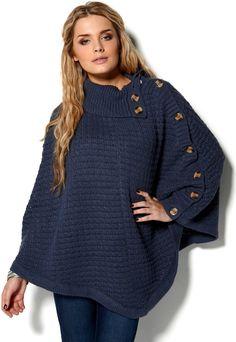 Fransa Poncho Blue - Bubbleroom Smart Design, Pullover, Knitting, Sweaters, Blue, Fashion, Moda, Intelligent Design, Tricot