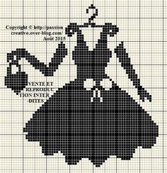 0 point de croix robe noire, gants et sac - cross stitch black dress, gloves and bag