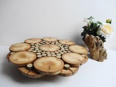 Wood Cake Stand, Rustic Cake Stand, Tree Slices Cake Stand, Wooden Centerpiece, Wood Slice Display, Woodland Decor, 17 inch Cake Stand on Etsy, $96.37