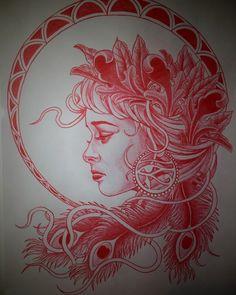Outer Dark Art | Red pencil sketch by @adamchristophertattoo