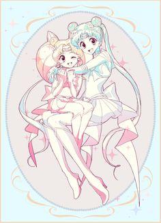 Sailor Moon// Serena and Rini Sailor Moon Fan Art, Sailor Chibi Moon, Sailor Moon Crystal, Chica Anime Manga, Sailor Scouts, Magical Girl, Character Illustration, Bunny, Cosplay