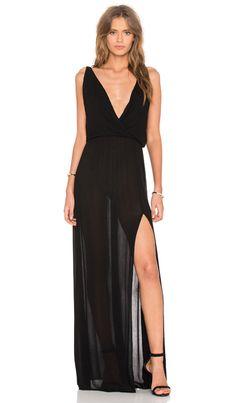Bobi Rayon Gauze V Neck Sleeveless Maxi Dress in Black   REVOLVE