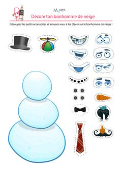 free printable snowman with facial features and hair options to cut out and decorate him with Christmas Games, Christmas Activities, Christmas Printables, Kids Christmas, Christmas Crafts, Xmas, Winter Activities, Preschool Activities, Diy For Kids