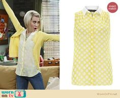 Riley's yellow beaded cardigan, polka dot top and two-tone sandals on Baby Daddy.  Outfit Details: http://wornontv.net/18691/ #BabyDaddy