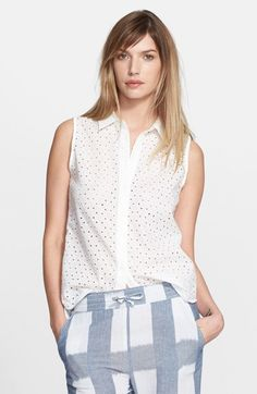 eff5608d661bf1 Equipment  Colleen  Eyelet Top available at  Nordstrom Eyelet Top