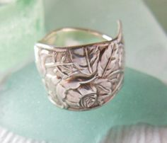 Antique Spoon Ring  Sterling Silver  Orchids by WoodsEdgeJewelry