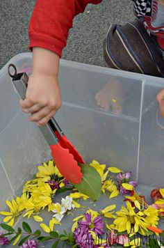 Practice fine motor skills with flowers