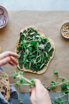 spring onion and pea tendril flatbread | dolly and oatmeal