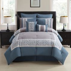 Dorsey 8-Piece Comforter Set in Grey/Multi - BedBathandBeyond.com
