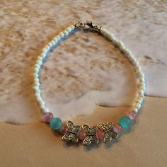 Blue and Pink Butterflies  Beaded Anklet by DungleBees on Etsy, $26.99
