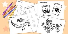 Chinese New Year Colouring Sheets - Chinese new year, colouring poster, colouring, fine motor skills, activity, China, lantern, dragon, chopsticks, noodles, year of the rabbit, ox, snake, fortune cookie, pig, money wallet