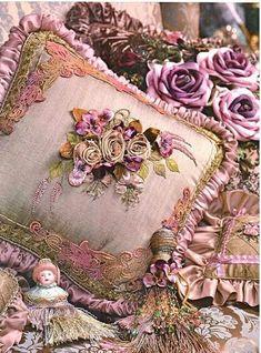 Silk rose cushion