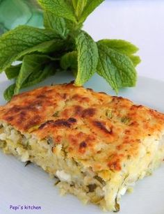 Pepi's kitchen in english: Zucchini pie with spearmint - Greek Recipe Pureed Food Recipes, Greek Recipes, Desert Recipes, Cooking Recipes, Easy Recipes, Vegan Recipes, Greek Appetizers, Greek Cooking, English Food