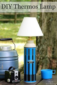 Super easy DIY tutorial for turning a thermos into a lamp. The same process can be used to turn just about ANYTHING into a lamp. The possibilities are endless! Diy Upcycling, Upcycle, Reuse, Make A Lamp, Haus Am See, Yard Sale, Lamp Design, Chair Design, Design Design