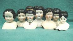 antique china dolls- so many hair styles