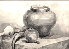 Still Life Drawing, Painting Still Life, Monochromatic Art, Object Drawing, Drawing For Beginners, Ink Wash, Pencil Art Drawings, Shape And Form, Art Education