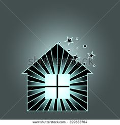 house icon. a house with a light in the window and the stars over the roof.