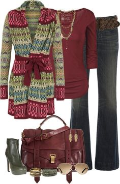 Winter style (substitute my cranberry Mulberry Bayswater bag for the one pictured and that is super cute! Going to have to find a cardie like that.)