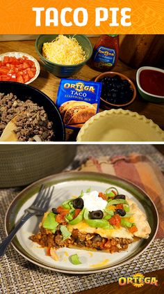 Check out our recipe for Taco Pie, a savory way to use that leftover pie crust you've been wondering what to do with. Cook hamburger meat with Ortega Taco Seasoning Mix, tomato sauce, onions, black olives, Ortega Salsa and shredded cheese for a hearty dish that could be your family's new dinnertime favorite.