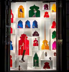 "BERGDORF GOODMAN, New York, ""A celebration of fabric patterns you might see in the Mumbai Marketplace"", for Louboutin, photo by Sam Theis, pinned by Ton van der Veer"