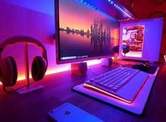 20 DIY Desks That Really Work For Your Home Office Tags: computer desk ideas fo. - 20 DIY Desks That Really Work For Your Home Office Tags: computer desk ideas fo. Diy Computer Desk, Gaming Desk, Diy Desk, Computer Tables, Computer Tips, Computer Technology, Office Setup, Pc Setup, Desk Setup