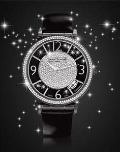 la montre 'opéra black eclair' de saint honoré Timeless Beauty, Rolex Watches, Saints, Jewelry Watches, Black Leather, Stainless Steel, Accessories, Diamonds, Tips Online