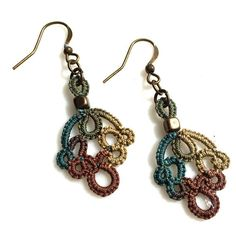 Fall Earrings features Handmade Tatted Lace for very Unique Statement Jewelry that women love!  Customize colors, metals, length.  #uniquehandmadejewelry #autumnjewelry  #lightweightearrings #jewelrygiftforher