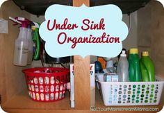 Under Sink Organization- Organize under your sink in less than 30 minutes for only $7. #organization #undersink #kitchen #sink #organized #diy