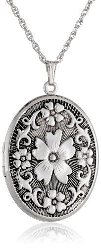 Sterling Silver Oval Embossed Floral Antique Finish Locket Necklace, Made in United States. Silver Locket Necklace, Silver Lockets, Antique Necklace, Pendant Necklace, Necklace Chain, Necklaces, Jewelry Gifts, Jewelry Box, Silver Jewelry