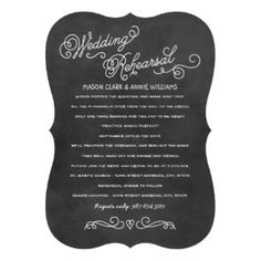 """This whimsical wedding rehearsal and dinner invitation features creative """"practice makes perfect"""" wording that invites the wedding party to join the bride and groom-to-be at the wedding rehearsal and dinner to follow. Design features a handwritten white chalk on black board textured background, and simple monogram of the couple at the top. #wedding #rehearsal #dinner #poem #verse #wording #casual #white #black #chalk #script #custom #template #design #stylish #handwriting #handwritten ..."""