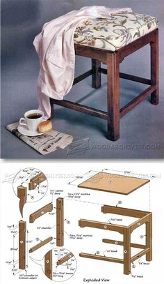 Chippendale Foot Stool Plans - Furniture Plans and Projects   WoodArchivist.com
