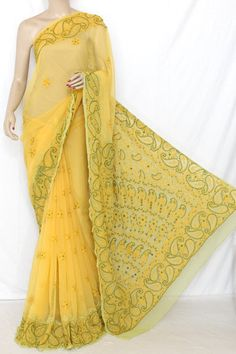 Yellow-Light Green Daraj Work Hand Embroidered Lucknowi Chikankari Saree (With Blouse - Georgette) 13735