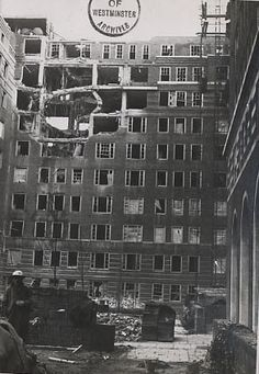 Photo:Damage to Frobisher House, Dolphin Square, 1940 Economic Terms, The Blitz, London History, Exeter, Portsmouth, Churchill, Westminster, World War Two, Old Pictures