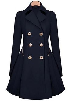 Laconic Double Breasted Long Sleeve Trench Coat with Turndown Collar   Rosewe.com