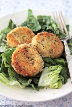 "Fried Goat Cheese Salad with Lemon Poppy Dressing (recipe) - ""Imagine this. Rounds of goat cheese crusted with bread crumbs and pan-fried until golden brown served over your favorite salad with a tangy lemon poppy seed dressing."""