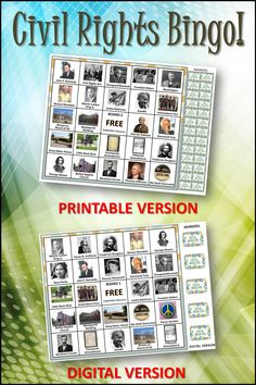 A unique and fun way to learn about important civil rights icons and people. Includes informational sketches and 30 printable boards and 30 digital boards for home and school use. #civilrights, #blackhistory, Teaching Social Studies, Teaching History, Student Teaching, Black History Month Activities, History For Kids, Holiday Bulletin Boards, 8th Grade History, Library Games, Black History Books