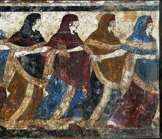 Funeral dance, Etruscan fresco from a tomb cover, 5th century bce; in the Museo Nazionale di Capodimonte, Napoli, Italia