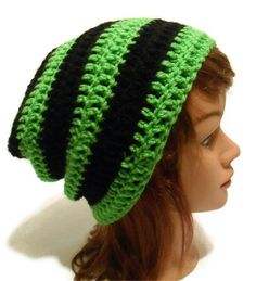 Crochet Striped Slouch Beanie Kendall in Lime by AddSomeStitches, #addsomestitches #dteam #etsy