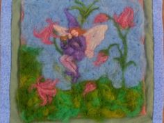 Serenading the Garden  This fairy tapestry was needle felted from 100% wool roving. It measures just around 9 inches square without the