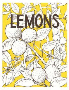 Lemon screen print by Heather Hardison. For sale at www.heather-hardison.com/tasty  #lemon #illustration #screenprint