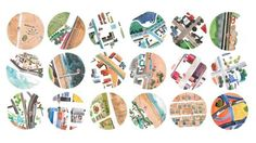 These are the watercolor maps by Gabrielle Raaf that are included with each portrait in the Bicycle Portraits project