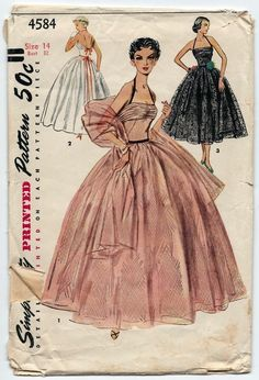 Dreamy Evening Formal Gown and Stole Pattern Draped Halter Dress, Shorter Cocktail Version Perfect Wedding Prom Ball Gown Simplicity 4584 Vintage Sewing Pattern Vintage Dress Patterns, Vintage Gowns, Clothing Patterns, Vintage Outfits, Halter Dress Short, Short Dresses, 1950s Fashion, Vintage Fashion, Pattern Draping